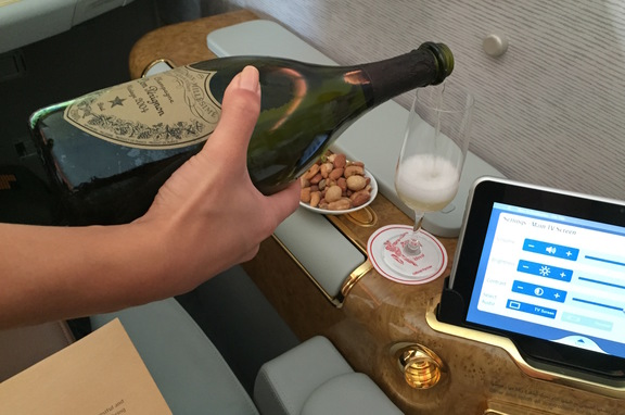 Dom Perignon in Emirates First Class