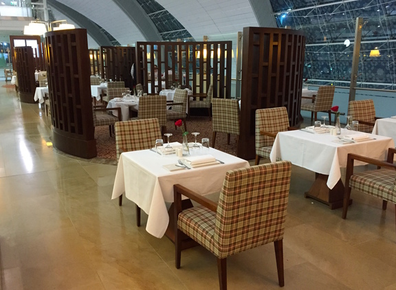 Dining at the Emirates First Class Lounge in Dubai