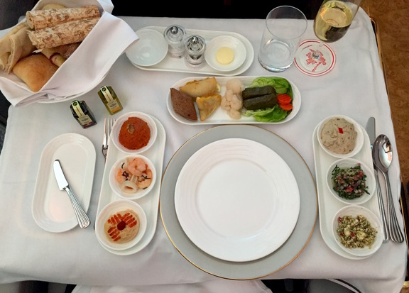 Traditional Arabic Mezze in Emirates First Class