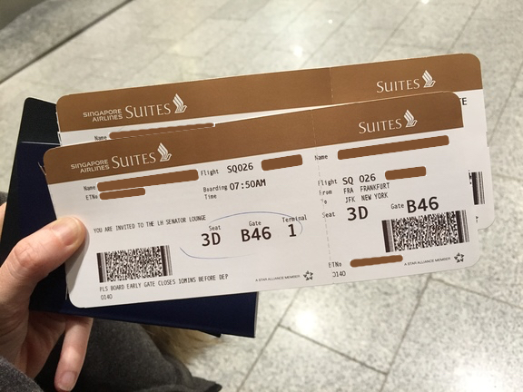 Singapore Airlines Gold Suites Tickets