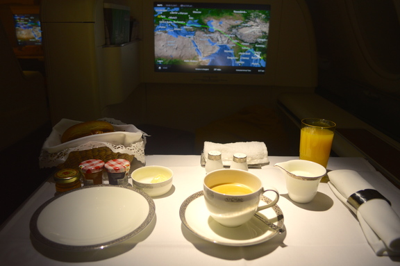 Breakfast on Thai Airways A380 in First Class